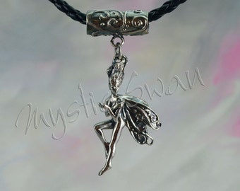 Sterling Silver Faerie,  Clarity Frolicking Faerie Fantasy Jewelry, With Tube Bail
