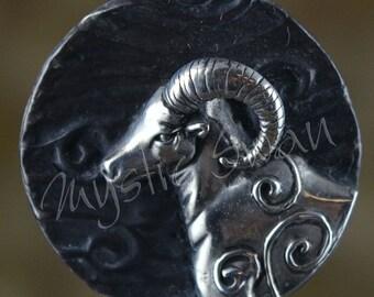 Spirit Ram Fantasy Pendant with Tube Bail in Sterling Silver