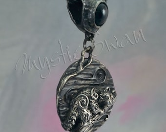 Any Spirit Animal Fantasy Pendant with Accent Stone Bail in Sterling Silver
