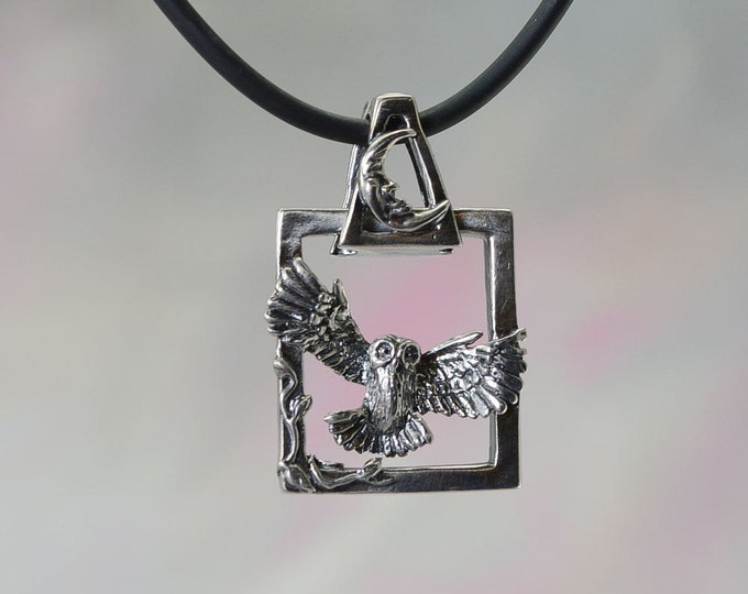 Magical Owl Fantasy Pendant With Moon Bail in Sterling Silver