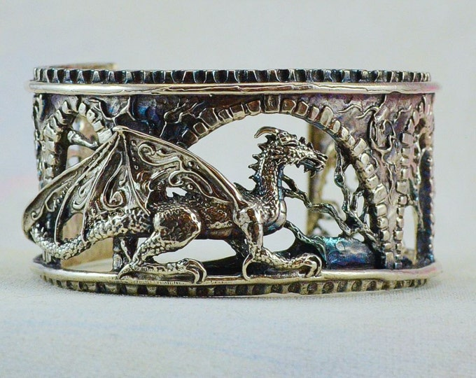 "Sterling Silver Dragon Bracelet ""Brackenthal's Keep"", Fantasy Jewelry  Size Small"
