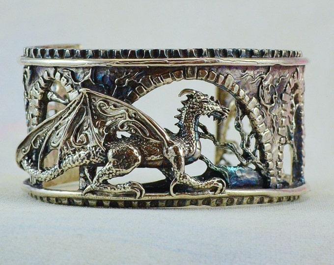"Sterling Silver Dragon Bracelet ""Brackenthal's Keep"", Fantasy Jewelry  Size Small"