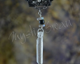 Faerie Tube Bail with Quartz Crystal, Labradorite and Black Onyx