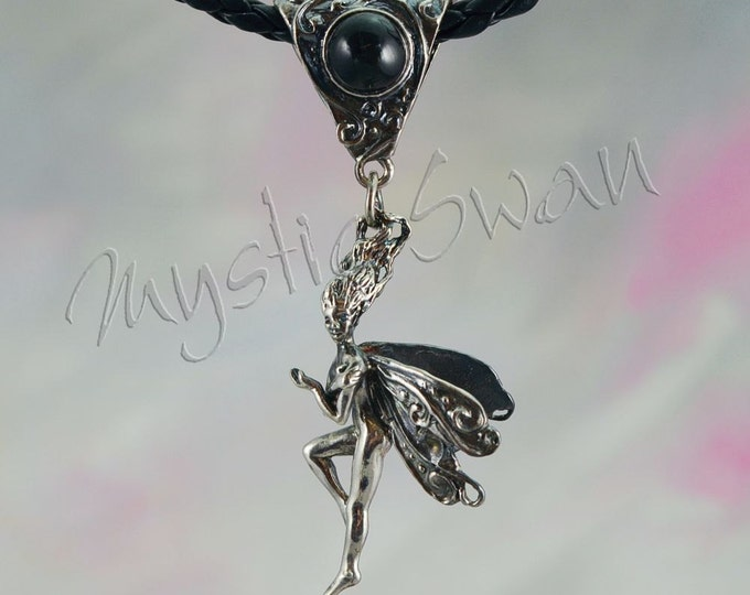 Frolicking Faerie, Clarity, With Stone on Scrollwork Bail in Sterling Silver