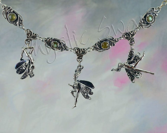 Three Frolicking Faeries With Labradorite Fantasy Necklace