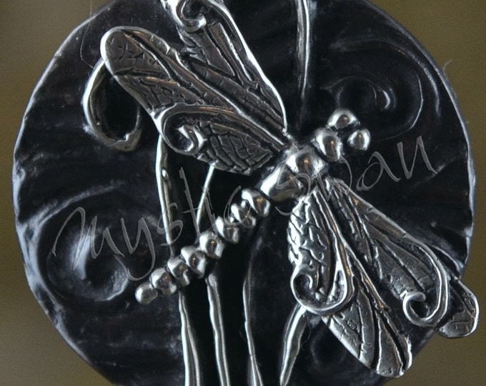 Spirit Dragonfly Fantasy Pendant with Tube Bail in Sterling Silver