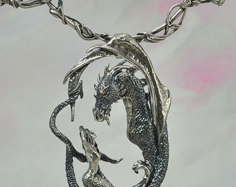 "The ""Enchantment"" Dragon & Mermaid Pendant with Neck Wire Set in Sterling Silver"