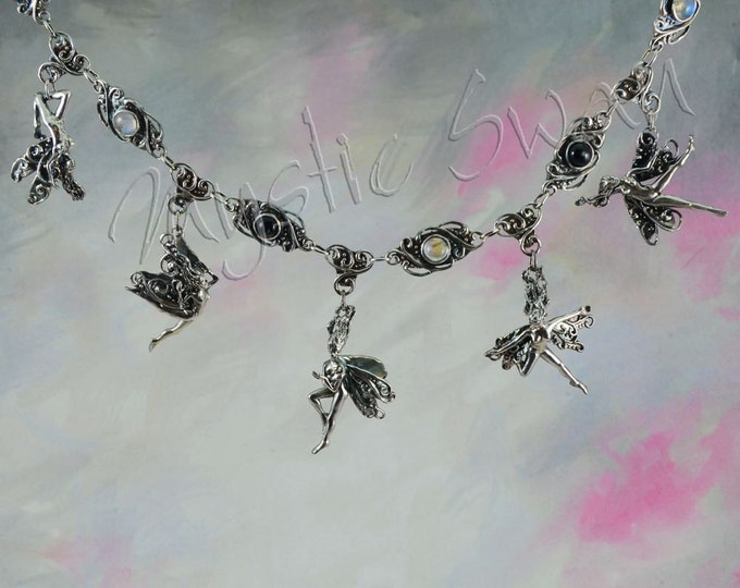 Sterling Silver Faerie Necklace With Five Frolicking Faeries, Moonstone and Diopside Fantasy Necklace