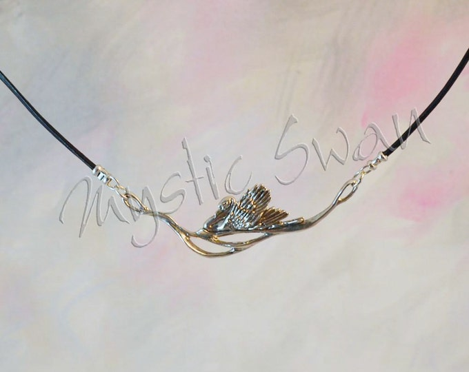 Elegant Swan Fantasy Jewelry Necklace in Sterling Silver with black cord