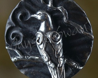 Sterling Silver Dove Pendant with Tube Bail, Spirit and Totem Animal Fantasy Jewelry