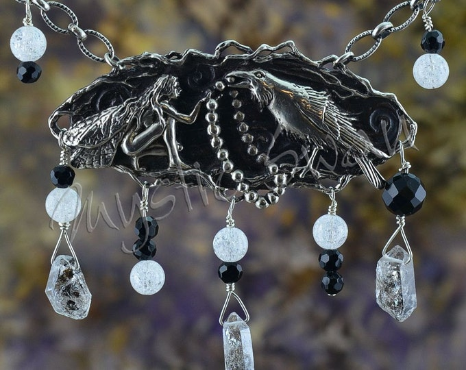 Faerie and Raven Mystical Fantasy Necklace with Herkimer Diamond, Crackled Quartz and Black Onyx