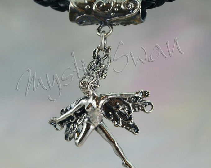 Frolicking Faerie, Spirit, With Tube Bail in Sterling Silver