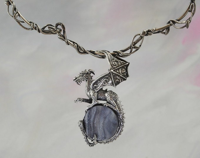 Dragon Pendant on Neckwire in Sterling Silver with Druzy Chalcedony