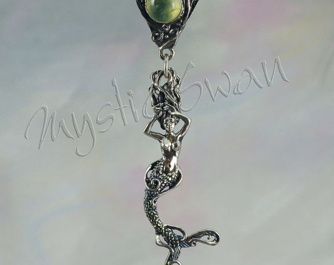 Tranquil Mermaid Pendant with Triangular Bail and Stone in Sterling Silver