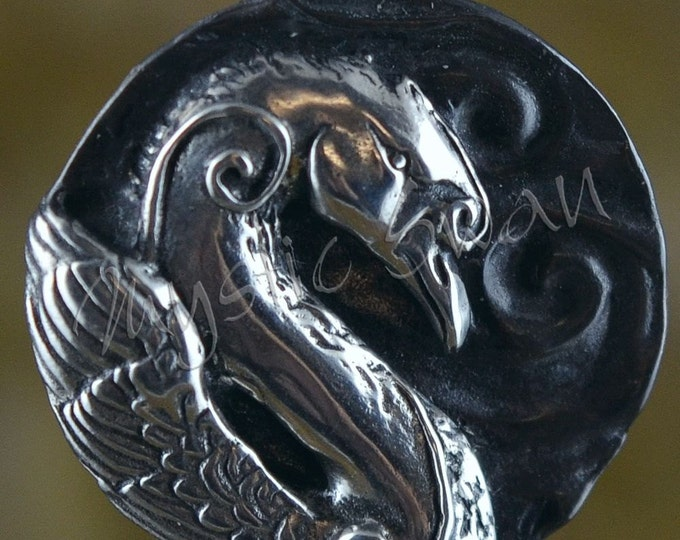 Spirit Swan Fantasy Pendant with Tube Bail in Sterling Silver