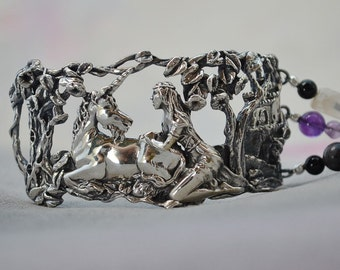 "Unicorn and Maiden ""Magical Refuge""  Fantasy Bracelet with Amethyst and Moonstone"