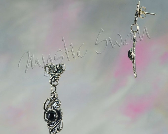 Enchanting Scrollwork Earrings in Sterling Silver with Black Star Diopside