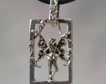 Faerie Imp Fantasy Jewelry Pendant in Sterling Silver
