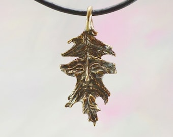 Oak Leaf Greenman Fantasy Jewelry Pendant in Bronze