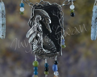 Faerie and Swan Mystical Fantasy Necklace with Kyanite, Hessonite Garnet, Jade, Apatite, Moonstone and Black Onyx