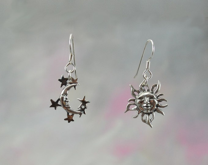 Sun & Moon Fantasy Jewelry Earrings in Sterling Silver