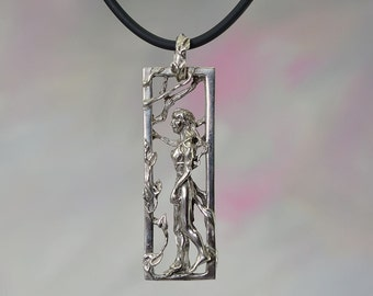 Walking Goddess Fantasy Jewelry Pendant in Sterling Silver