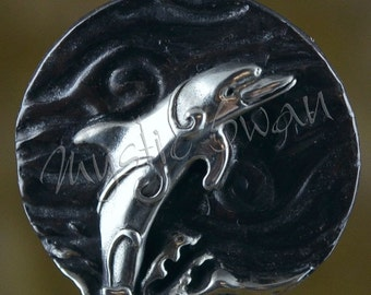 Spirit Dolphin Fantasy Pendant with Tube Bail in Sterling Silver