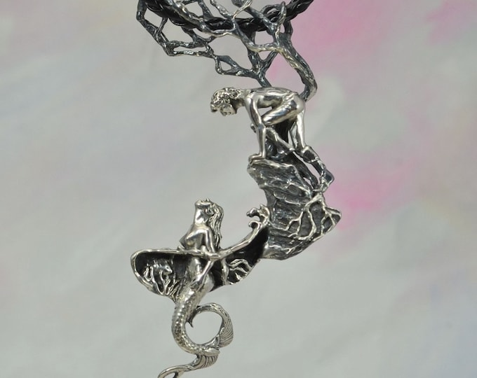 "Mermaid ""Encounter"" Fantasy Jewelry Pendant in Sterling Silver"