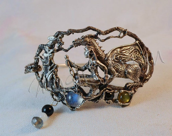 "Dragon & Maiden ""The Quest Continues"" Fantasy Bracelet with Moonstone, Labradorite, Black Spinel and Onyx"
