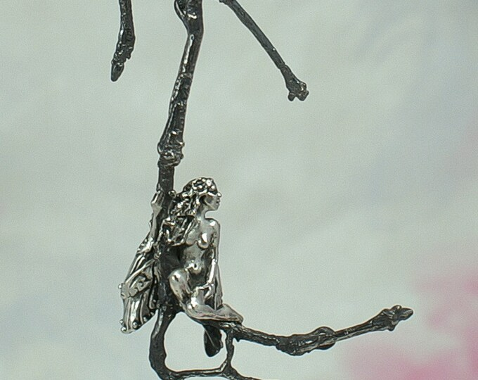 Sterling Silver Faerie Necklace, Serene Faerie of the Wood Jewelry