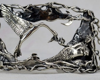 "Sterling Silver Mermaid and Swan Bracelet, ""The Gift"""