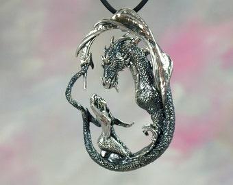 "Mermaid & Dragon ""Enchantment"" Fantasy Jewelry Pendant in Sterling Silver"