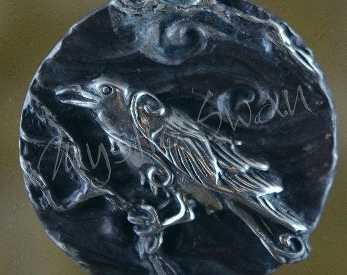 Spirit Raven Fantasy Pendant with Tube Bail in Sterling Silver