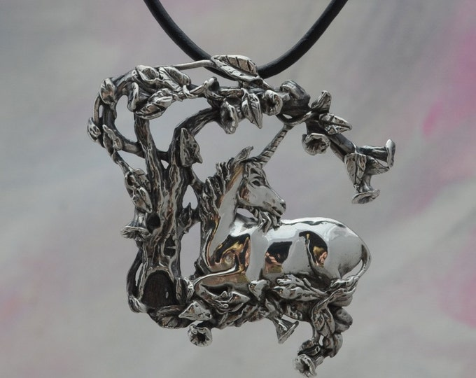 Magical Fantasy Jewelry Unicorn Pendant in Sterling Silver