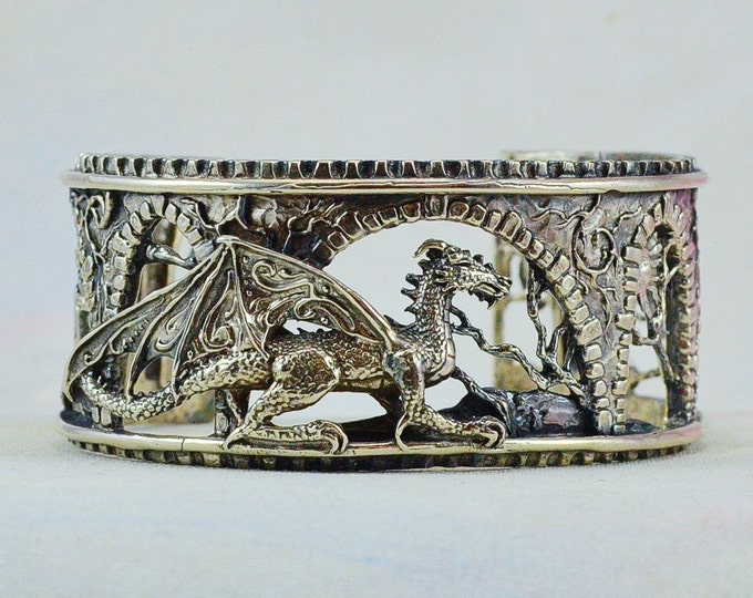 "Size Medium Fantasy Dragon Bracelet ""Brackenthal's Keep"" in Sterling Silver"