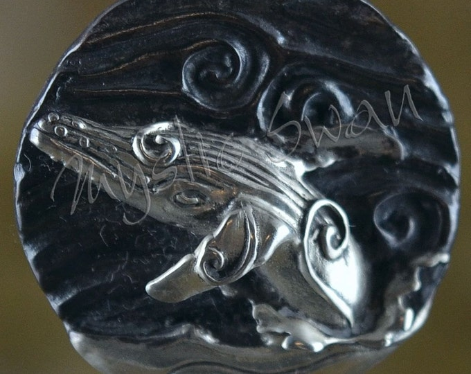 Spirit Whale Fantasy Pendant with Tube Bail in Sterling Silver