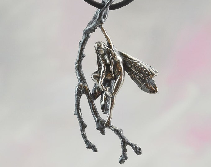 Sterling Silver Faerie Pendant, Faeries of the Wood Fantasy Jewelry Collection