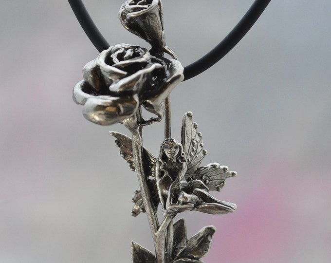 Rose Flower & Faerie Pendant in Sterling SIlver