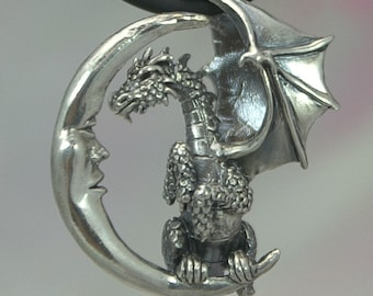Dragon Pendant in Sterling Silver Lunar Dragon Fantasy Pendant