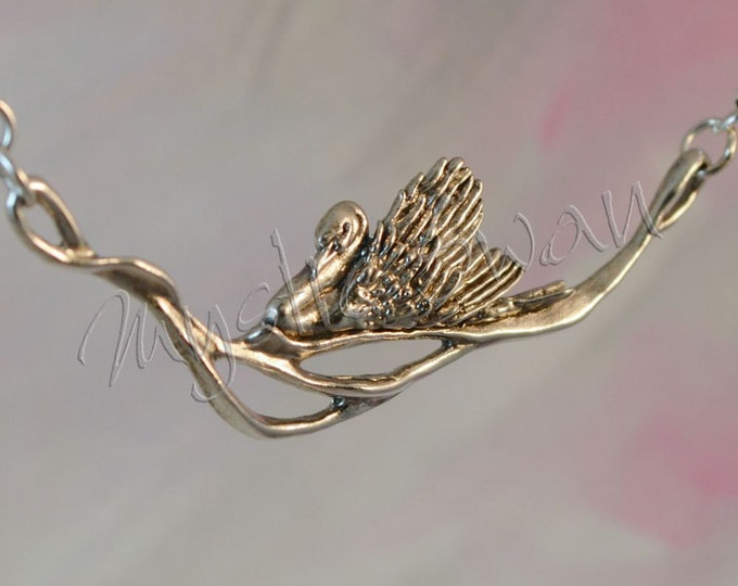 Elegant Swan Fantasy Jewelry Necklace in Sterling Silver