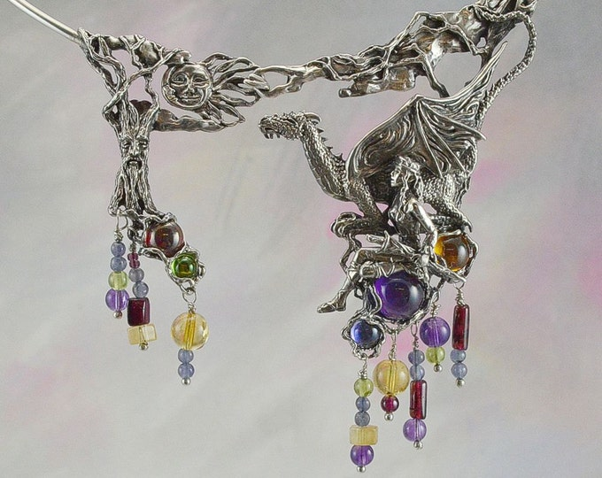 "Dragon & Maiden ""A Quest's Beginning"" Fantasy Necklace with Amethyst, Citrine, Iolite, Garnet and Peridot"