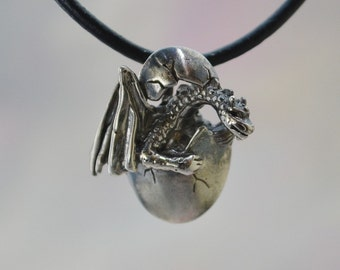 Dragon Hatchling Pendant in Sterling Silver