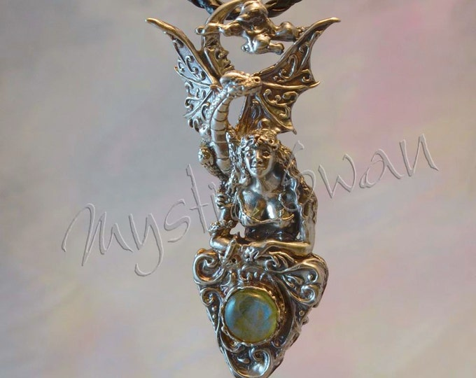 "Fantasy Jewelry ""Magic Foretold"" Dragon & Maiden Pendant in Sterling Silver With Labradorite"