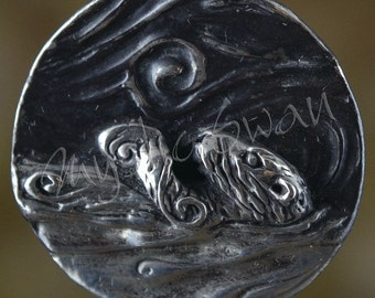 Spirit Otter Fantasy Pendant with Tube Bail in Sterling Silver