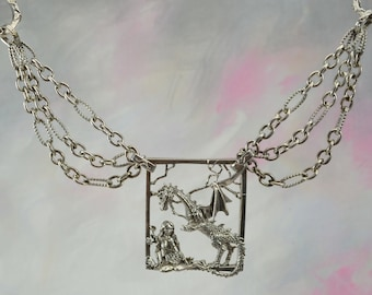 Dragon and Goddess Fantasy Necklace with Attached Chain in Sterling Silver