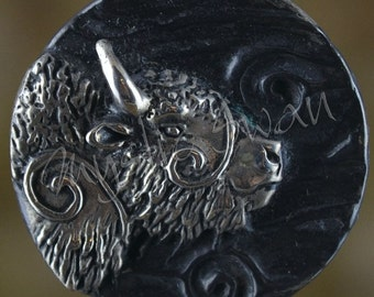 Spirit Bison Fantasy Pendant with Tube Bail in Sterling Silver