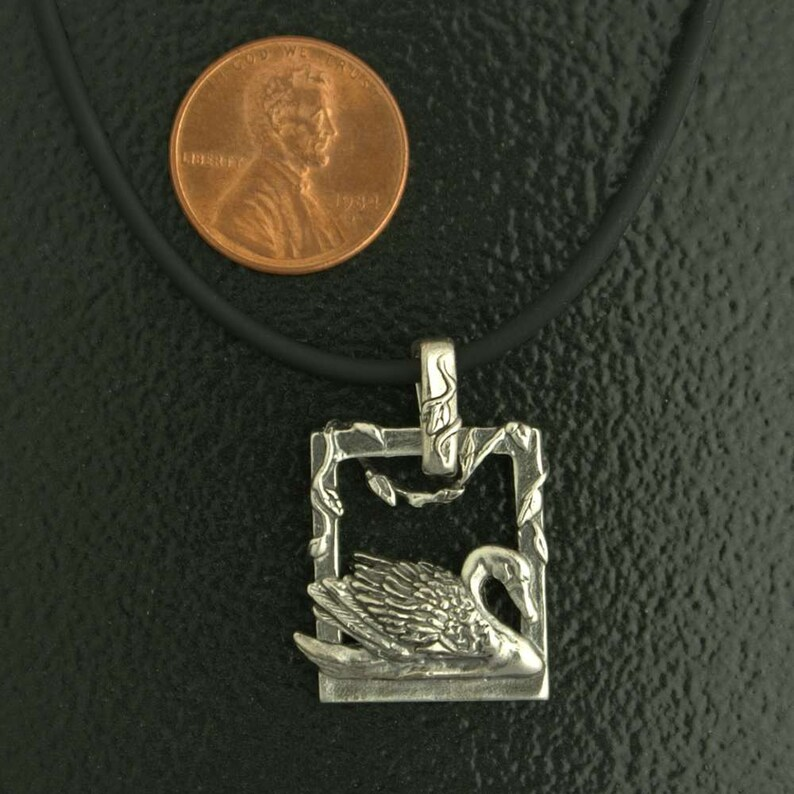 Small Swan Pendant with Vines in Sterling Silver