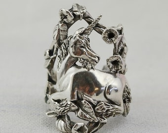 Sterling Silver Unicorn Ring, Magical Fantasy Jewelry