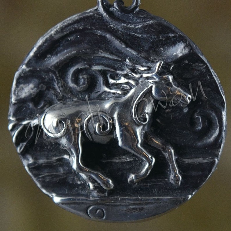 Spirit Horse Fantasy Pendant with Tube Bail in Sterling Silver image 0