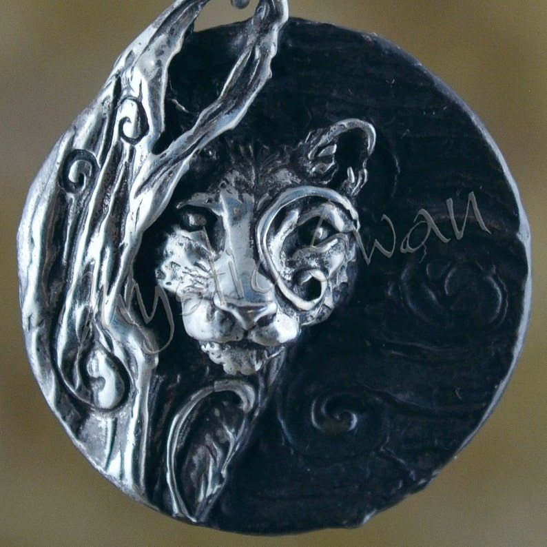 Spirit Cougar Fantasy Pendant with Tube Bail in Sterling image 0